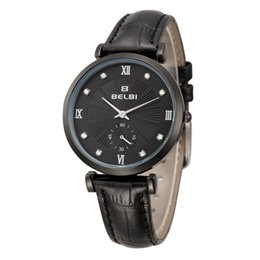 Wholesale Cheap Women Wrist Watches - AAA Cheap Simple Diamond Dail Watches PE45 Movement Round Leather Women Wrist Watches China Brand BELBI