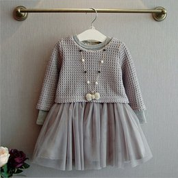Wholesale Long Sleeve Knitting Skirt Dress - 2016 New Autumn Little Girls Long Sleeve Knit Skirt Kids Dress Fall Clothing Princess Skirt 2 pieces Knit Top