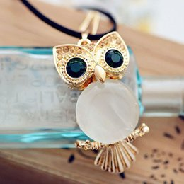 Wholesale Accesories Women Free Shipping - New Arrival Women Fashion Accesories Necklaces Green Eyes Long Lovely Decoration Owl Necklace Sweater Free Shipping