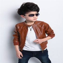 Wholesale Boys Kids Leather Jackets - 2016 new brand fashion children's PU leather motorcycle jacket autumn spring kids outwear children cool coat baby boy clothes