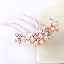 Wholesale Teeth Whiter Stick - The bride's bow-tie hair comb about 10 * 8 cm 4 tooth water drill pearl comb hair decoration hair comb gift accessories