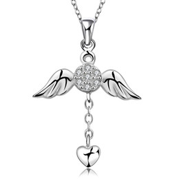 Wholesale Flying Heart Necklace - The Wing of Angle Takes Heart Fly Away Round Drilling Love's Shield Necklace Pendant as Christmas Gift on Wholesale