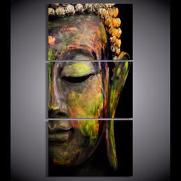 Wholesale Oil Paintings Portraits Canvas - 3 Pcs Set Canvas Art Printed Buddha Portrait Art Painting Canvas Print room decor print poster picture canvas
