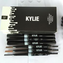 Wholesale Permanent Waterproofing - Ladies Makeup Kylie Eyebrow Waterproof permanent Eyebrow Pencil Cosmetics Brow Eye Liner Tools 2in1 brown 3 color Kylie