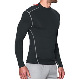 Wholesale Shirts V Skins - Wholesale- Sportswear quick-drying tights breathable plus velvet skin fitness men shirt Base Layer warm brand clothing compression shirts