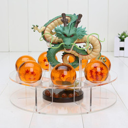 Wholesale Red Figurine - Anime Dragonball Z Shenron figuras Dragon ball Z figurines 1 dragon +7 crystal balls 4cm +1 shelf brinquedos toy for adults