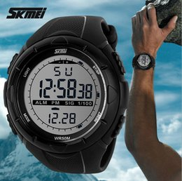 Wholesale Boys Sports Dive Watch - 2016 New Skmei Brand Men LED Digital Military Watches Fashion Boy Sports Watch Dive Swim Outdoor Casual Wristwatches Hot