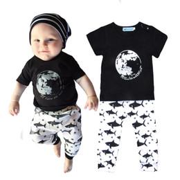 Wholesale Fish Pattern Shirt - Retail Letter Printed Boy Girl Clothing Sets Summer Style Moon Short-sleeve T shirts+Shark Pattern Pants 2pcs Set Cartoon Fish Baby Clothes