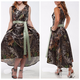 Wholesale Camouflage Shorts Cheap - V-Neck Camo Satin High Low Bridesmaids Dresses With Ribbon 2017 Short Simple Camouflage Bridesmaid Honor Of Maid Wedding Gowns Cheap