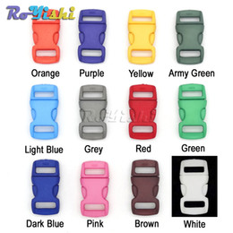 "Wholesale Paracord Bracelet Buckles Wholesale - 100pcs lot 3 8""(10mm) Colorful Contoured Side Release Plastic Buckles For Paracord Bracelet"