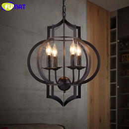 Wholesale American Lantern Lighting - FUMAT Lantern Pendant Light Retro Industrial Black Iron Pendant Lamps American Country Bar Cafe Study Dining Room Light Fixture