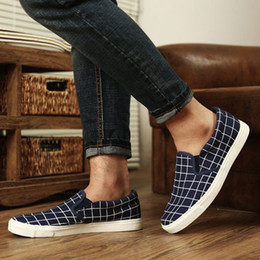 Wholesale Round Foot Pedal - New Arrival Low Heel Spring Plaid Canvas Male Students Set Foot Movement Breathable Slip-on Pedal Shoes