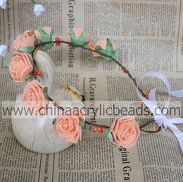 Wholesale Wicker Balls Wholesale - fashion elegant customs 3.5CM orange rose imitated handmade fabric bridal wedding headband artificial wicker for wholesale