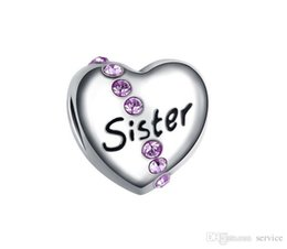 Wholesale Big Sister Silver Charm - 20pcs Alloy big hole bead sister Charms Jewelry Interchangeable Jewerly Charms Pendants Necklace DIY Bracelet 2016 October Style