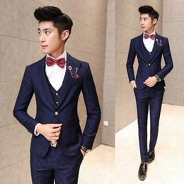 Wholesale Korean Suit Clothing - New Arrival Men Suits set 3pcs set high qualtiy suit vest trousers korean style wedding party Men Blazers Handsome clothing sets