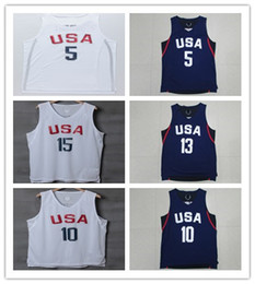 Wholesale Cheap Men S Gold - Wholesale #5 Player 2016 USA Dream Team Jersey White Basketball Jerseys Men Sports wear embroidered Logos Cheap sports shirts