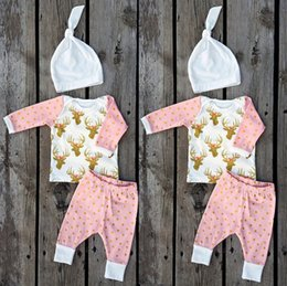 Wholesale American Buck - New Born Baby Clothes Toddler Clothing Sets Infants Tops + Pants + Cap Christmas Buck 3pcs Sets High Quality Full Cotton Outfits Lovely 9493
