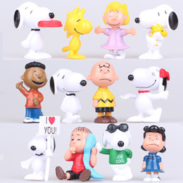 Wholesale Cake Set Toys - Peanuts Snoopy Movie Cartoon Charlie Brown Lucy Cute Nails 12pcs Set Anime Action Figures Pvc Toys Cake Topper Free Shipping