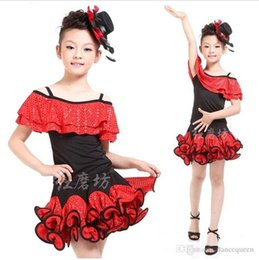 Wholesale New Arrival Latin Dance Dresses - 2016 New Arrival Latin Dance Dress For Girls Sequin Dance Costumes Children Vestido De Baile Latino Kids Latin Dance Wear