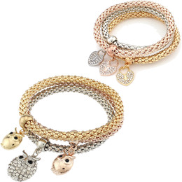Wholesale Crystal Owl Ring - Fashion Jewelry bracelets 3 pieces set three-colour elastic crystal Bar Setting women bangle Owl heart Charm For bracelet jewelry Making