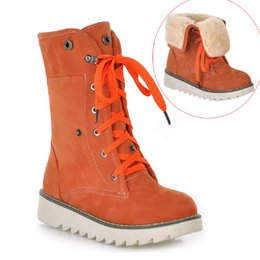 Wholesale Calf Boots Wedge Heel Buckles - Fashion Roman Boots Women Shoes Winter Cow Muscle Sole Boots Front Lace-up Wedges Snow Martin Boots