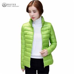 Wholesale Xs Women Black Winter Jacket - Plus Size 90 % White Duck Down Coat 2017 New Autumn Winter Puffer Jacket Women Ultra Light Solid Color Zipper Warm Parka Ok386