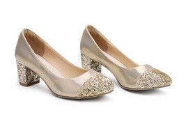 Wholesale Shoes For Gold Sequin Dress - The new 2016 single shoes for women's shoes thick with leather sequins round head professional with women's shoes in bigger sizes