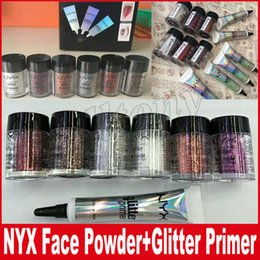 Wholesale Full Body Makeup - NYX face and body glitter with primer set glitter primer Foundation Primer for eyeshadow fllash powder cosmetics makeup DHL