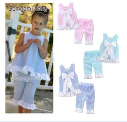 Wholesale Cashmere Outfit - Summer Girls Clothes Bow Lattice Ins Suits Outfit Children Vest Princess Tops Falbala 7 Minutes Pants Kids Clothing 5 Styles Free Shipping