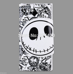 Wholesale Skull Purses Wallets Wholesale - Wholesale-The Nightmare before Christmas Time Burton's White Skull PU Long Wallet Purse Birthday Gift