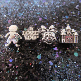 Wholesale Castle Candy - Love Fairy Tales Candy Man Cartoon Mouse Castle Charm Bead 925 Silver Women Jewelry European Style For DIY Bracelet Necklace