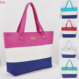 Wholesale Canvas Print Shop - Summer Canvas Handbag Women Beach Bag Fashion Hit Color Printing Lady Girls Handbags Stripe Shoulder Bag Casual Bolsa Shopping Bags SV029776