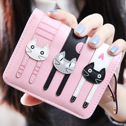 Wholesale Cute Korean Cards - 5Colors short section of Korean cat hasp eighty percent off pu Purse Mini cute thin zipper wallet simple student purse
