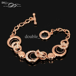 Wholesale Bracelet Imitation Jewellery - CZ Diamond Hand Bracelets & Bangles Gold Plated Vintage Fashion Brand Ceramic Jewellery Jewelry For Women Imitation Crystal Wholesale DFH075