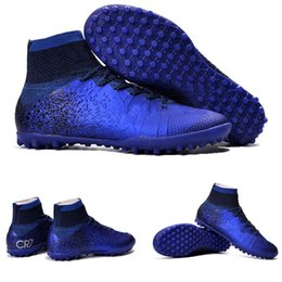 Wholesale Mercurial Sg - MERCURIAL SUPERFLY CR SG-PRO fit adult children's Artificial turf high soccer shoes Natural Hard turf with CR7 Outdoor kids soccer shoes