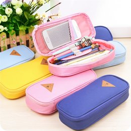 Wholesale Box Korea - Korea Magic Channel Large Capacity Multifunctional Canvas Pencil Cases Big Leather Pen Bags Box for Boys Girls School Stationery