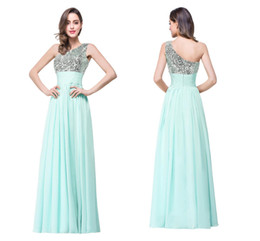 Wholesale Designer One Shoulder Party Dress - New Mint Green Cheap Sequined Bridesmaid Dresses 2018 One Shoulder Glitz Chiffon Long Maid Of Honor Gowns Formal Evening Party Gowns CPS280
