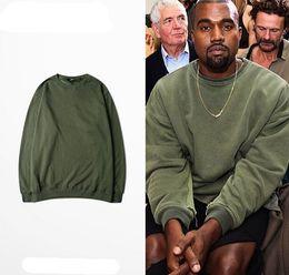 Wholesale Khaki Shirts For Women - 100% Cotton Vintage Kanye West Sweater Shirts For Men Women Round Collar Long Sleeve Plain Shirt For Sale