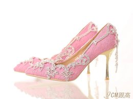 Wholesale Diamond Evening Shoes - Women's Shoes Leather Diamond Stiletto Heel Heels Pointed Toe Pumps Heels Wedding Party & Evening Pink 9cm 7cm