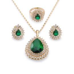 Wholesale Earring Setting Yellow Gold - Women's High Quality Gift Teardrop Emerald Jewelry Set 18K Yellow Gold Plated Earrings Ring and Pendant Necklace Free Shipping