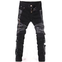 Wholesale Fake Cut - Wholesale-Black Patchwork Tight Leather Pants Men Fake Zipper Decoration Motorcycle Skinny Boot Cut Jeans Brand PU Design Casual Trousers