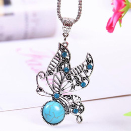 Wholesale Vintage Green Rhinestone Necklace - Goid Plated necklaces & pendants summer style Necklaces For Women vintage Hollow Crystal Turquoise Butterfly Pendants