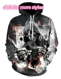 Wholesale Poker Sleeve - New Fashion Couples Men Women Unisex Skull Poker 3D Print Hoodies Sweater Sweatshirt Jackets Pullover Top S-5XL TT32