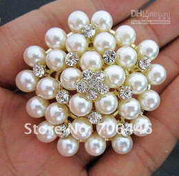 Wholesale Kc Gold Plating - KC Gold Plated Cream Pearl and Clear Rhinestone Crystal Bridal Wedding Pin Brooch