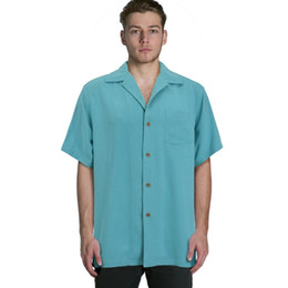 Wholesale Vintage Big Collar Shirt - Wholesale-Europe bahama Men silk short sleeve shirts vintage loose plus big size