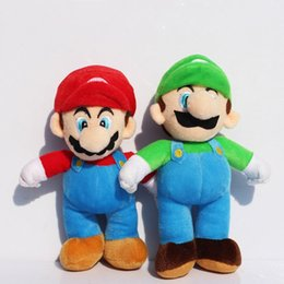 Wholesale Mario Bros Stuffed Toys Wholesale - Wholesale-2Pcs Lot 10inch 25cm Super Mario Bros Stand MARIO LUIGI Plush Doll Stuffed Toys Great Gift Free Shipping