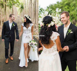 Wholesale Images Cool - Stylish Lace Wedding Dresses 2017 Chic V Neck Removable Train Chiffon Country Style Bridal Gown Sexy Backless Custom Made For Cool Wedding