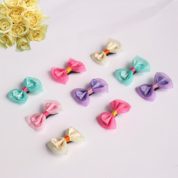 Wholesale Dog Hairpin - 5.5*4Cm Beautiful Pet Headdress Dot Yarn Butterfly Hairpin Fashion Dog Grooming Supplies Various Colors To Choose Pet Charms