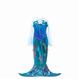 Wholesale Mermaid Style Dresses For Kids - 2017 Girls Mermaid Dresses Halloween Cosplay Dress Flare Gauze Long Sleeve Dancing Dress For Kids Children Clothing BJ001