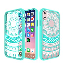 Wholesale Acrylic For Painting - Super anti-knock creative clear painted soft tpu frame + acrylic hard back cover case for iphone X phone cover shockproof